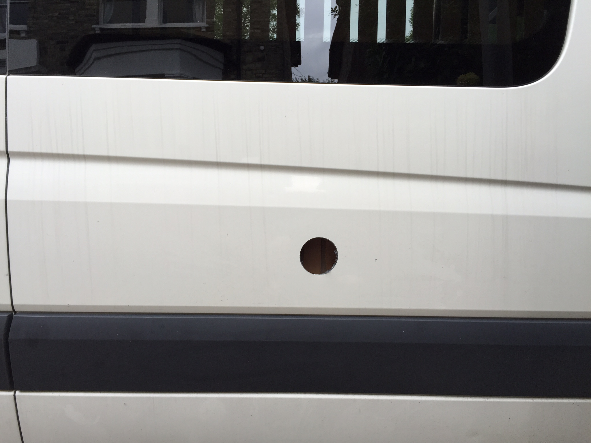 Hole in the van for electric hook-up