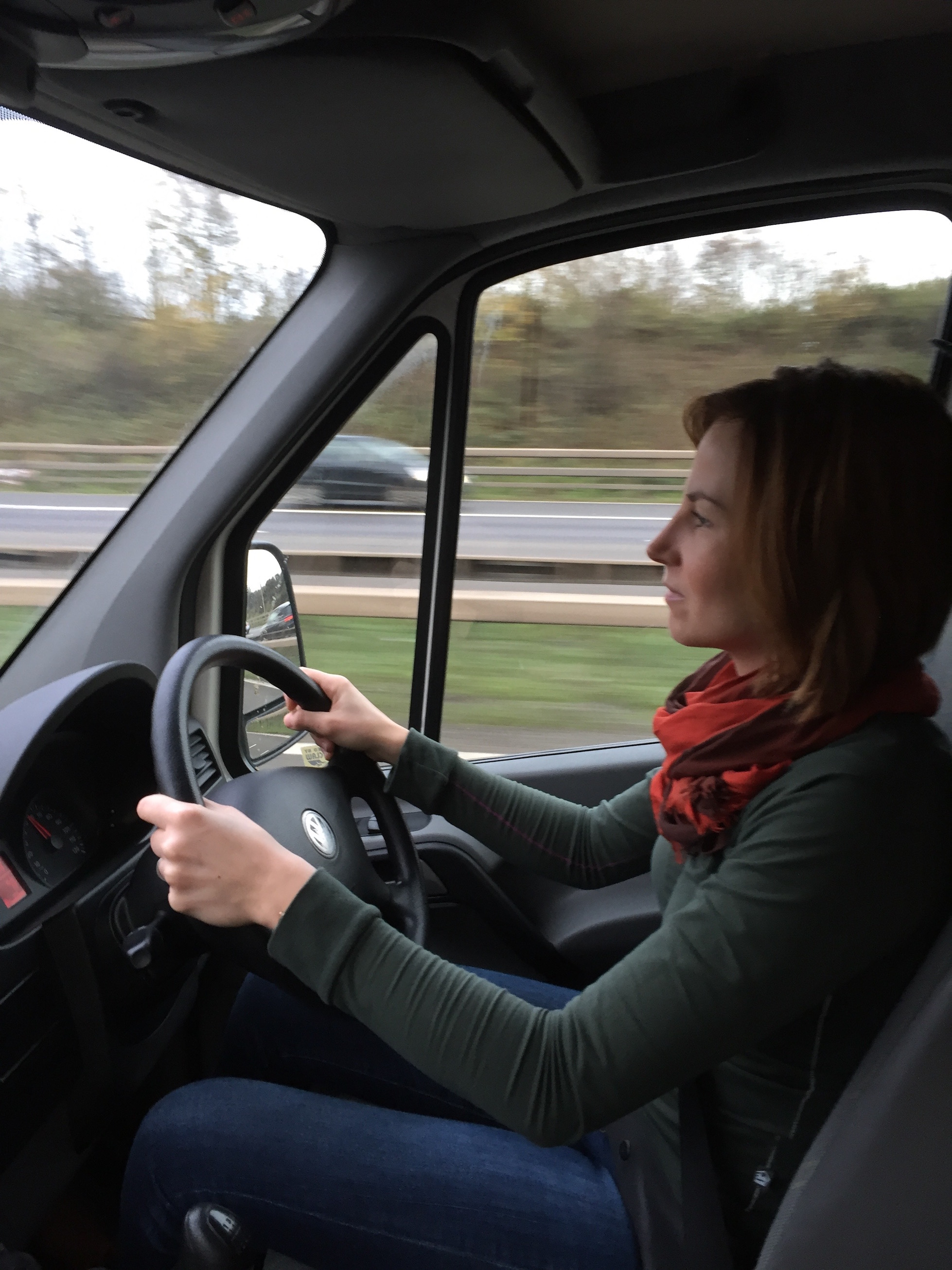 The wife driving the van